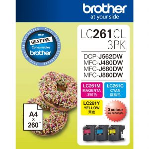 BROTHER LC261CL, BROTHER LC261CL 3PK Ink Cartridges