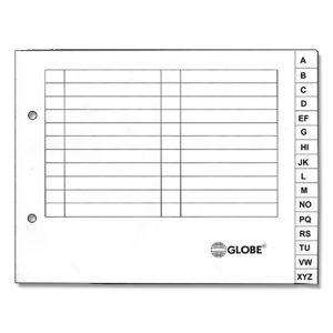 Globe A5 Paper Index (A-Z)