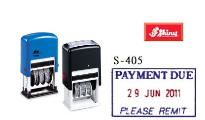 SHINY S-405 PAYMENT DUE雙色日子印, SHINY S-400BCH 4MM Chinese Date Stamp (Blue)