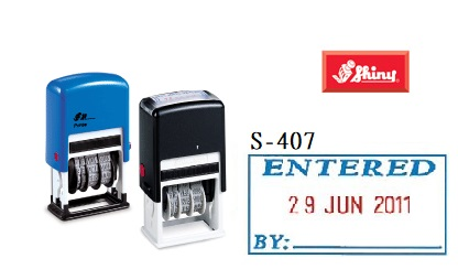 SHINY S-407 ENTERED雙色日子印, SHINY S-407 ENTERED Two Colors Date Stamp