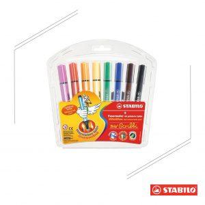 STABILO 德國天鵝牌 TRIO SCRIBBI 三角形握把設計彈性筆頭彩色筆 8色