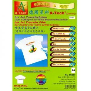 德國星科 A-Tech F6857F6858 噴墨熨畫T恤膠片(適用於白色或淺色衣服) A4A3, A-Tech F6857/F6858 Ink Jet Transfer Film