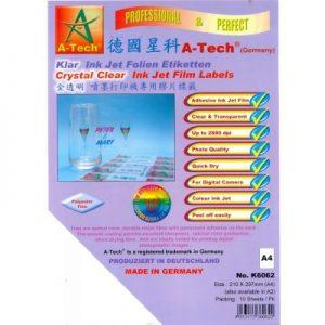 德國星科 A-Tech K6062K6063 全透明 噴墨打印機專用膠片標籤 ( 快乾 ) A4A3, A-Tech K6062/K6063 Crytal Clear Ink Jet Film Labels
