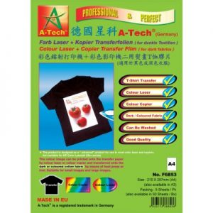 德國星科 A-Tech F6853F6854 彩色鐳射+彩色影印二用熨畫T恤膠片(適用於黑色或深色衣服) A4A3
