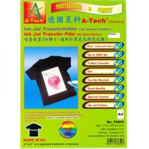 德國星科 A-Tech F6859F6860 噴墨熨畫T恤膠片(適用於黑色或深色衣服) A4A3