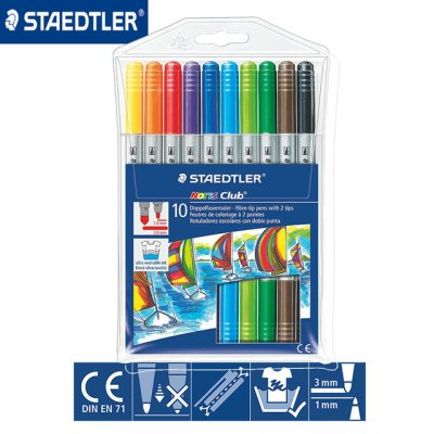 STAEDTLER 320 NWP10 雙頭水彩筆10色, STAEDTLER Noris® 320 Double ended fibre-tip pen Wallet containing 12 double ended fibre-tip pens in assorted colours