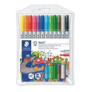 STAEDTLER 320 NWP12 雙頭水彩筆12色, STAEDTLER Noris® 320 Double ended fibre-tip pen Wallet containing 12 double ended fibre-tip pens in assorted colours