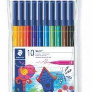 STAEDTLER 326 WP10 防乾水彩筆10色, STAEDTLER 326 WP10 Fibre-tip pen Wallet containing 10 fibre-tip pens in assorted colours