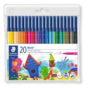STAEDTLER 326 WP20 防乾水彩筆20色, STAEDTLER 326 WP20 Noris Club Fibre-tip Pens Wallet containing 20 fibre-tip pens in assorted colours