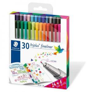 STAEDTLER 334 C30P 水彩筆24+6色, Staedtler Triplus 334 C30P Fine Liner Pens in 30 Colours