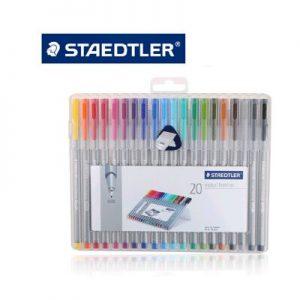 STAEDTLER 334 SB20 纖維筆20色, STAEDTLER 334 SB20 Triangular fineliner containing 20 triplus fineliner in assorted colours