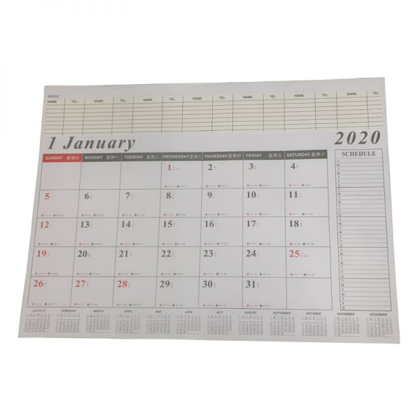 2020 年大班檯墊月曆連替芯, 2020 DESK MAT PLANNER