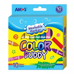 AMOS CM10P-M 10色粗水彩顏色筆(可水洗), AMOS CM10P-M WASHABLE MARKER
