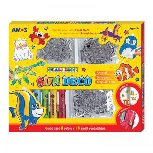 AMOS SD10P6-SC 6色玻璃彩連18小掛牌套裝, AMOS SD10P6-SC SUN DECO