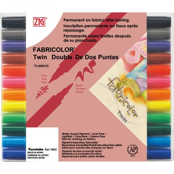 ZIG FABRICOLOR TWIN TC-400012V 雙頭布料彩繪筆 (12 色裝), ZIG FABRICOLOR TWIN TC-400012V (12 colors set)