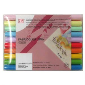 ZIG FABRICOLOR TWIN TC-400030V 雙頭布料彩繪筆 (24 色裝), ZIG FABRICOLOR TWIN TC-400030V (24 colors set)