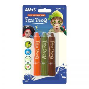 FACE DECO FD5B3B韓國旋轉人體彩繪臉彩蠟筆兒童化妝彩筆, AMOS FD5B3B FACE DECO 3 COLORS