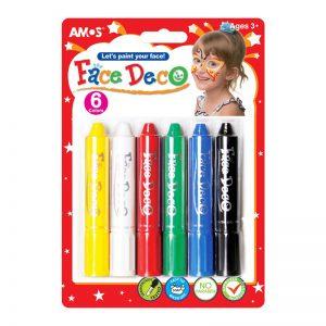 FACE DECO FD5B6 韓國旋轉人體彩繪臉彩蠟筆兒童化妝彩筆, AMOS FD5B6 FACE DECO 6 COLORS
