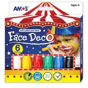 FACE DECO FD5P6 韓國旋轉人體彩繪臉彩蠟筆兒童化妝彩筆, AMOS FD5P6 FACE DECO 6 COLORS