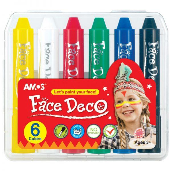 FACE DECO FD5PC6 韓國旋轉人體彩繪臉彩蠟筆兒童化妝彩筆, AMOS FD5PC6 FACE DECO 6 COLORS