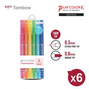TOMBOW GCF-611A 6色, TOMBOW GCF-611A PLAY COLOR K DRAWING PEN SET (6 COLOR)
