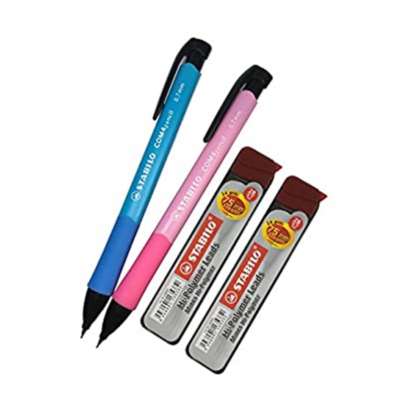 STABILO COMM4 0.7mm 鉛芯筆套裝 (藍/粉紅色), STABILO COMM4 Mechanical Pencil Set 0.7mm (Blue and Pink) with 2B Hi-Polymer Lead Refills (Copy)