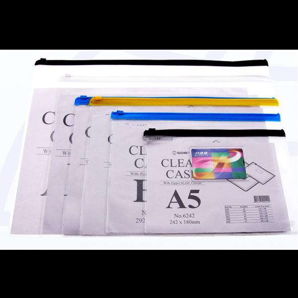 GLOBE 6338 A4(338mmX245mm)透明膠拉鍊袋(附咭片袋)