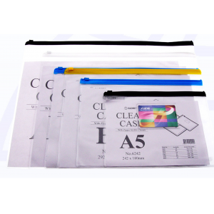 GLOBE 6365 F4(365mmX250mm)透明膠拉鍊袋(附咭片袋)